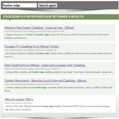 A preview of the iWood Timber website search results page