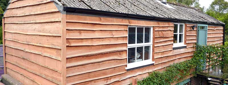 British Larch Waney Edge timber cladding