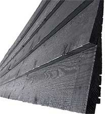Painted black rebated cladding