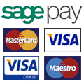 The Sagepay payment processor logo and the payment cards it accepts.