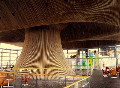 Western Red Cedar Oriel and Cowl, Senedd, Wales