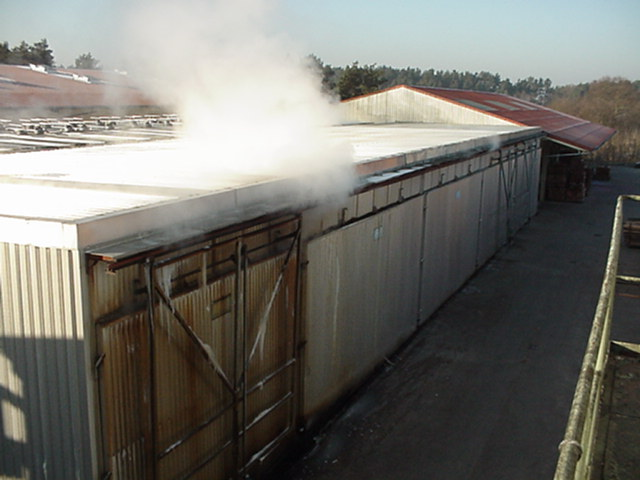 Water vapour escaping from the kilns