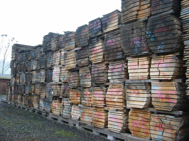 Stacked timber air drying